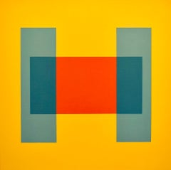 """""""Come Together"""" Minimal Geometric Bright Yellow Contemporary Oil Paint Abstract"""