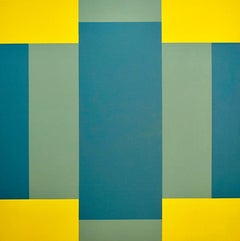 """""""Crossroad"""" Minimal Geometric Abstract Green Blue Oil Painting Contemporary"""
