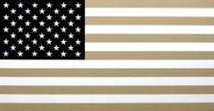 """""""Flag #4""""    Pop-Art Americana Contemporary Flag in Tan, White and Black"""