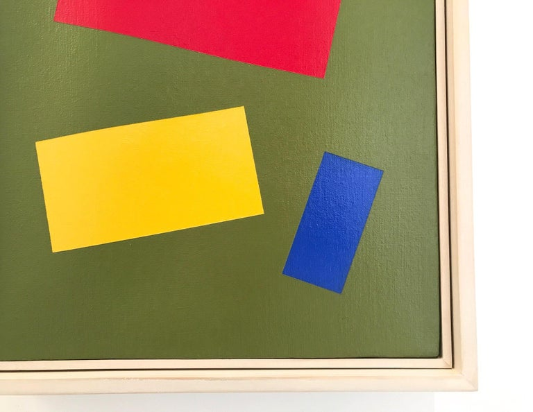Primary Colors on a Field of Green - Abstract Geometric Painting by Charlotte Andry Gibbs