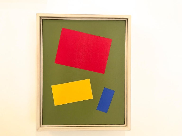 Primary Colors on a Field of Green - Brown Abstract Painting by Charlotte Andry Gibbs