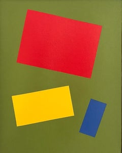 """""""Primary Colors on a Field of Green"""" Minimal Bright Abstract Geometric Oil Paint"""