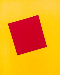 """Right on Red"" Minimal Geometric Abstract Square Red Yellow Contemporary Bright"