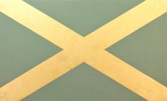 """Saltaire""  Minimal Scottish Flag Geometric  Pop  Sage Green  23K Gold Leaf/Oil"