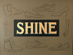 """""""Shine""""  Pop-Art Americana Shoes 'Sign' in Tan /Black /23 KT.Gold Leaf and Oil"""