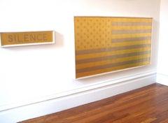 """SILENCE"" Pop-Art Modern Contemporary 23k Gold Flag Minimal Oil Paint"