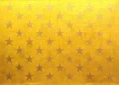 """Starry Splendor"" Americana, Pop Art, 23K Gold Leaf, Stars, Flag Detail, Minimal"