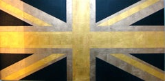 """Union Jack (Blue and Gold)""  Pop British Flag 23k Gold Leaf/Oil Contemporary"
