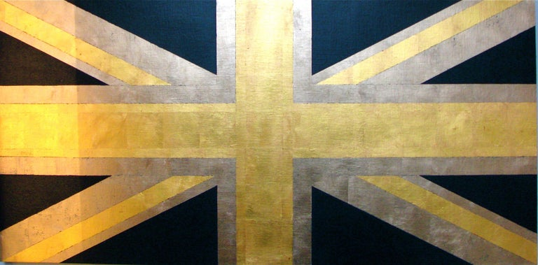 """Charlotte Andry Gibbs Figurative Painting - """"Union Jack (Blue and Gold)""""  Pop British Flag 23k Gold Leaf/Oil Contemporary"""