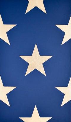 """""""Vertical Section""""   Pop-Art Americana Blue/23 Kt. Gold Leaf Star Composition"""