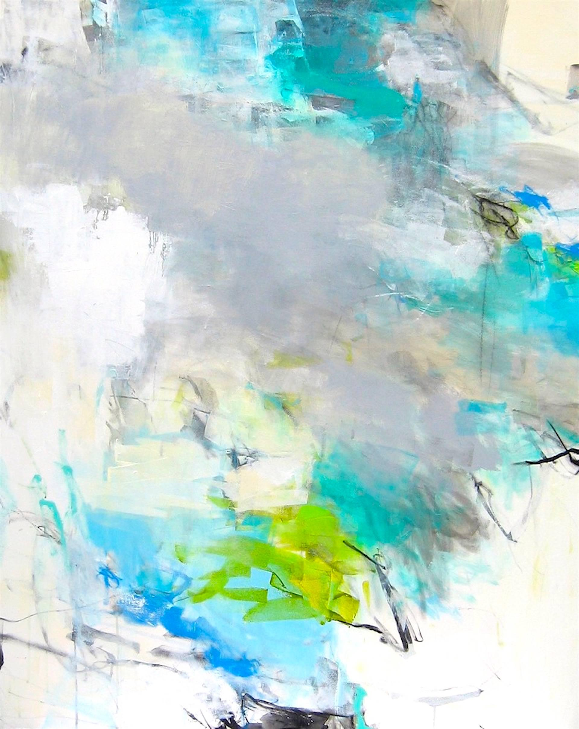 Above the Cloud- large contemporary soft white grey blue large abstract painting
