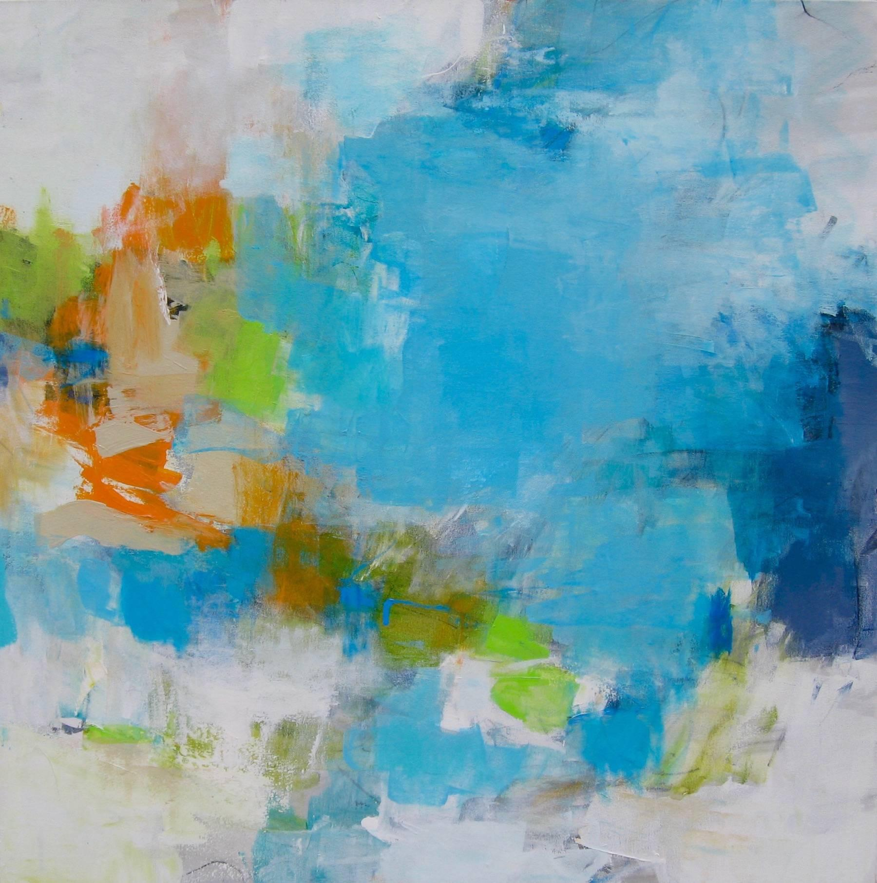 Coastal romance- Abstract soft color white blue medium size painting