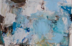 Cobalt I- contemporary horizontal white grey blue abstract painting on paper