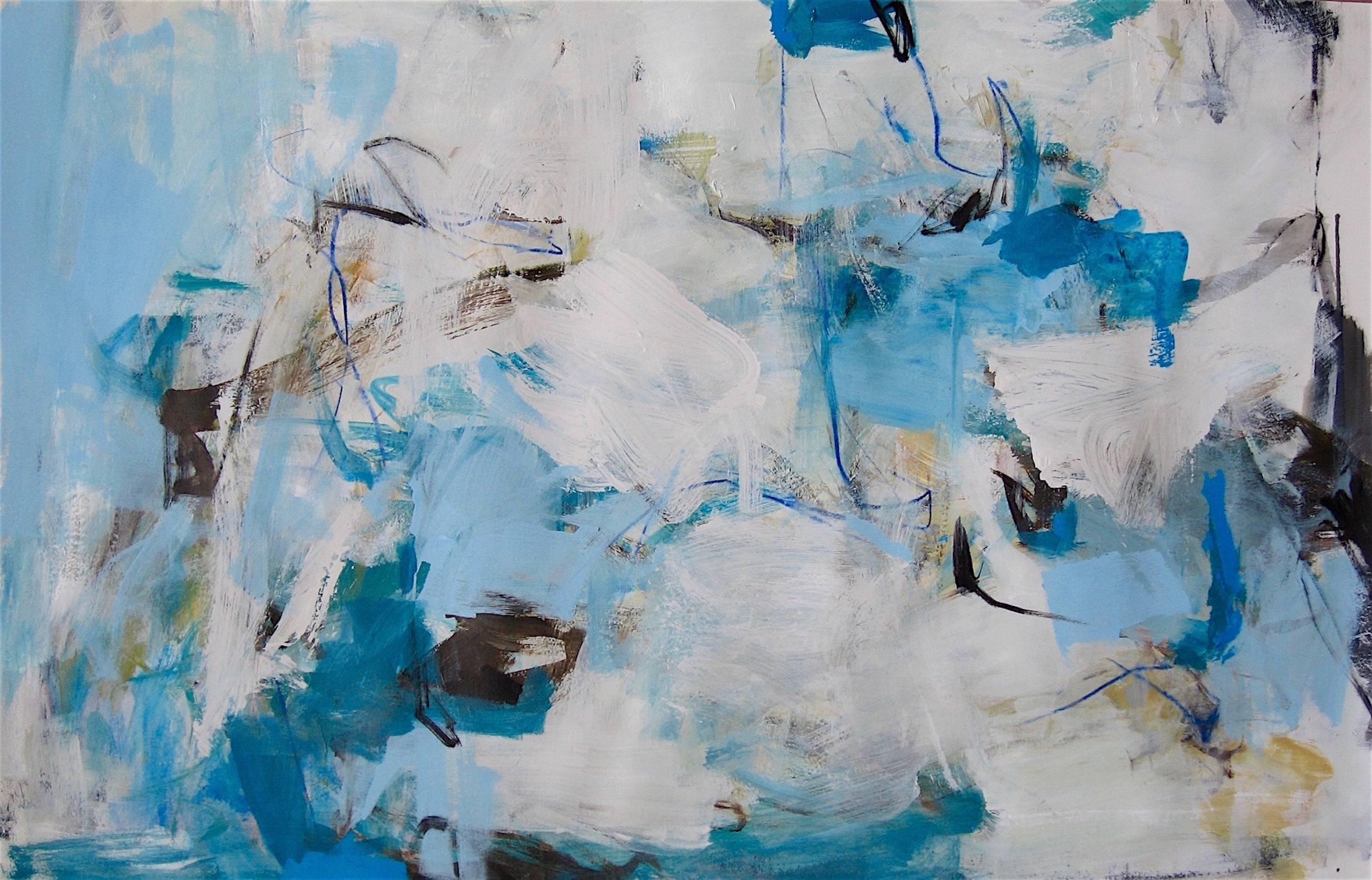 Above The Clouds Contemporary White Grey Blue Large Abstract Painting