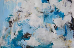 Cobalt II- contemporary horizontal white grey blue abstract painting on paper