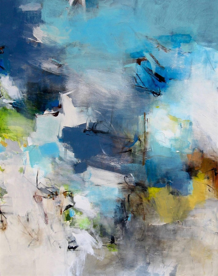 Meadowlands Contemporary White Grey Blue Beige Large Abstract Painting