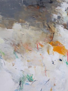 Simplicity- Abstract soft color white beige brown earth tone large painting