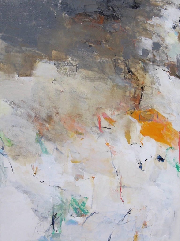 Charlotte Foust Abstract Painting Simplicity Soft Color White Beige Brown Earth Tone Large
