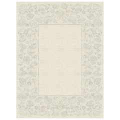Charlotte Gris - Floral Beige Hand Knotted Wool Silk Rug