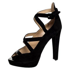 Charlotte Olympia Black Caged Suede and Patent Leather Gladys Platform Size 41