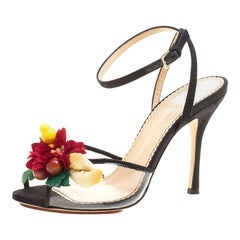 Charlotte Olympia Black Canvas And PVC Tropicana Embellished Sandals Size 38