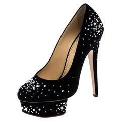 Charlotte Olympia Black Crystal Embellished Suede Dolly Platform Pumps Size 35