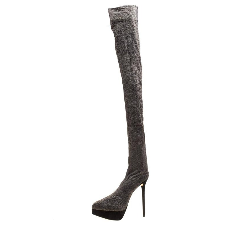 5091af7cbd4a Charlotte Olympia Black Glitter Jersey More Is More Thigh High Platform  Boots Si In New Condition