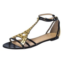 Charlotte Olympia Black/Gold Leather Parisienne Eiffel Tower Sandals Size 41