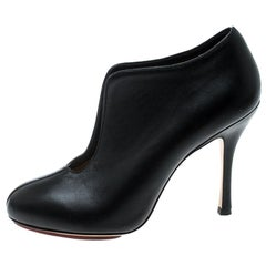 Charlotte Olympia Black Leather Ankle Booties Size 37