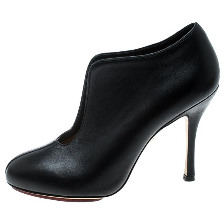 Charlotte Olympia Black Leather Ankle Booties Size 37 For Sale