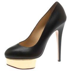 Charlotte Olympia Black Leather Dolly Platform Pumps Size 39