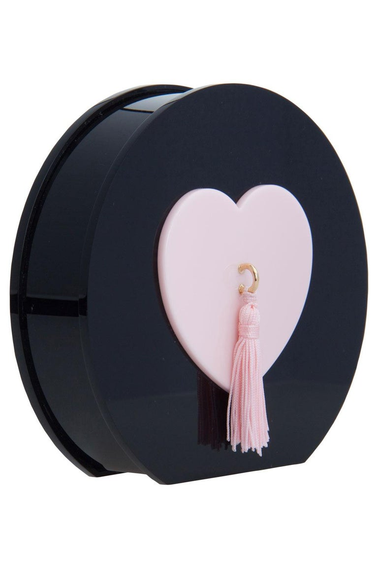 Charlotte Olympia Black/Pink Perspex Such a Tease Tassel Clutch In Excellent Condition For Sale In Dubai, Al Qouz 2