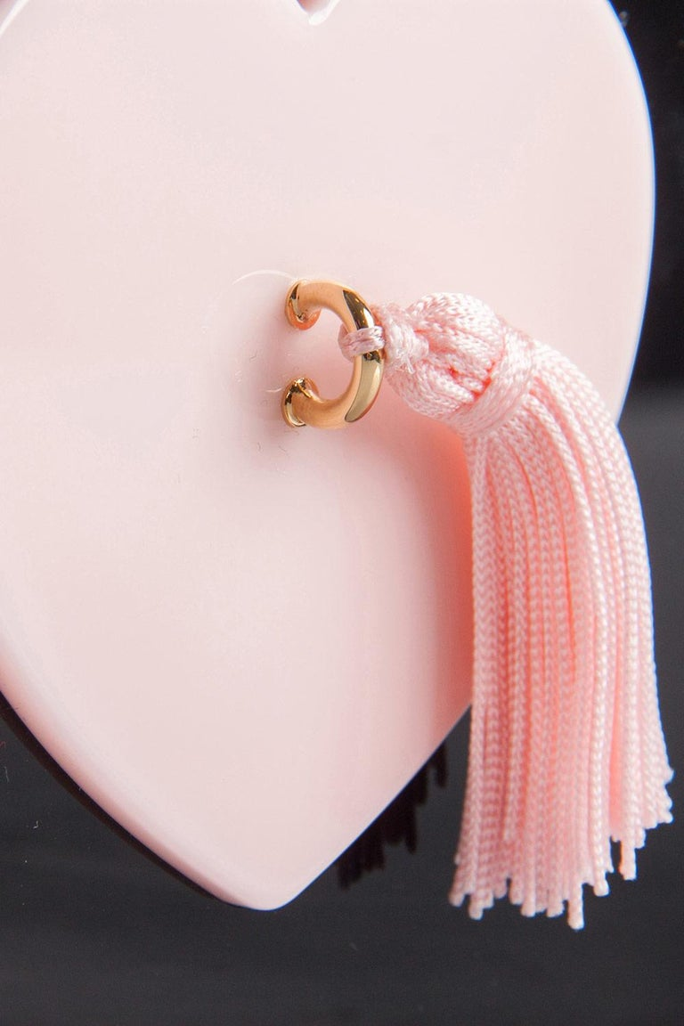 Charlotte Olympia Black/Pink Perspex Such a Tease Tassel Clutch For Sale 2