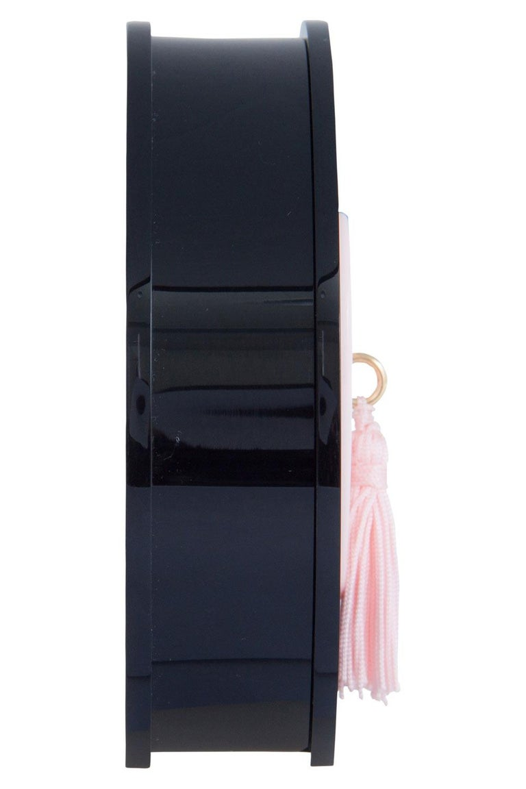 Charlotte Olympia Black/Pink Perspex Such a Tease Tassel Clutch For Sale 3