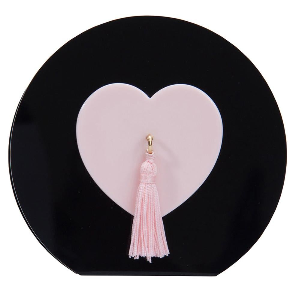 Charlotte Olympia Black/Pink Perspex Such a Tease Tassel Clutch