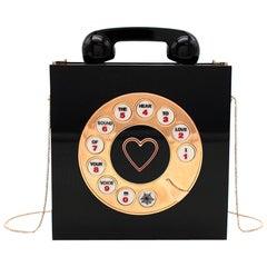 Charlotte Olympia Black Plexi Telephone Top Handle Bag