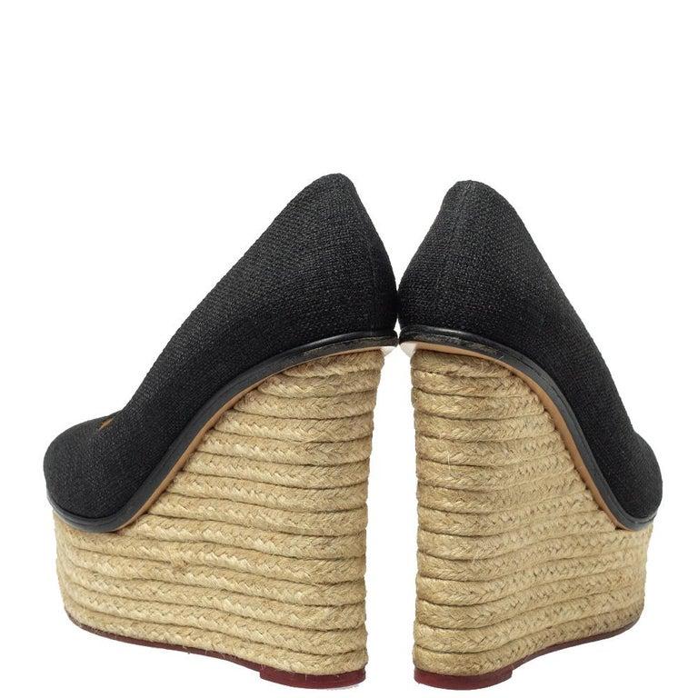 Brown Charlotte Olympia Black Raffia Carmen Wedge Espadrilles Pumps Size 37.5 For Sale