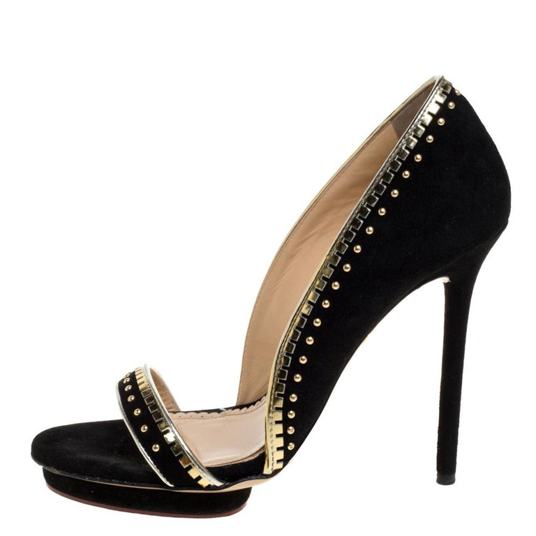 Charlotte Olympia Black Suede Christine Stud Open Toe Pumps Size 38.5 For Sale 1