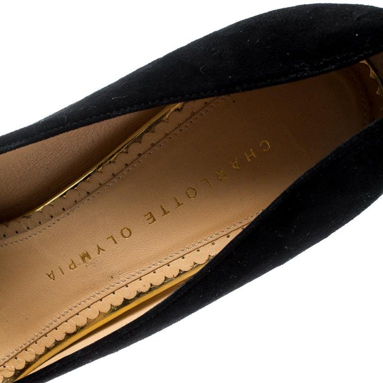 Charlotte Olympia Black Suede Dolly Platform Pumps Size 38.5 For Sale 1