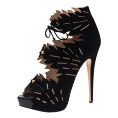 Charlotte Olympia Black Suede Eve Leaf Cutout Ankle Booties Size 40.5