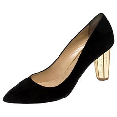 Charlotte Olympia Black Suede Liz Pointed Toe Pumps Size 39.5