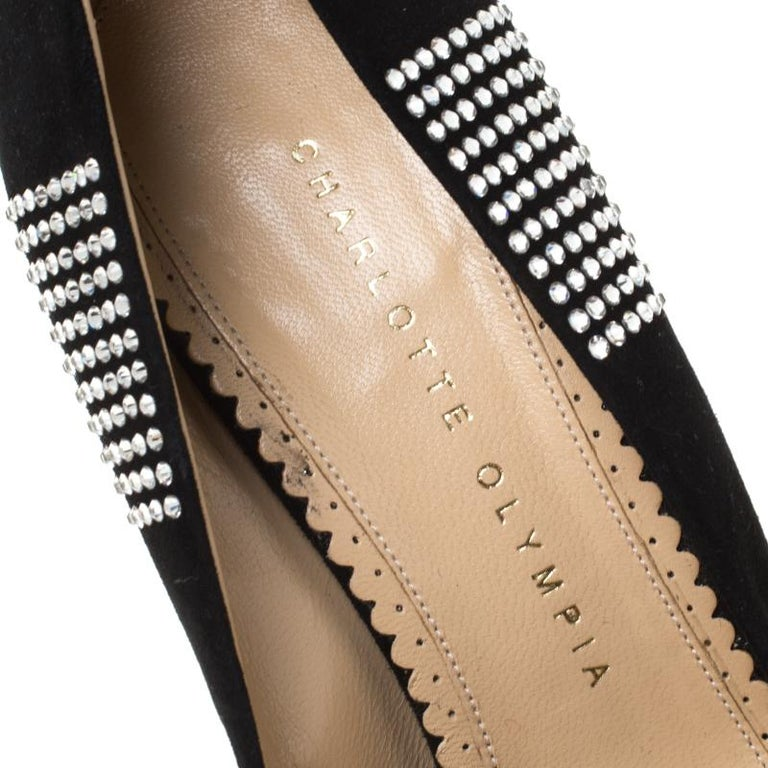 Charlotte Olympia Black Suede Paparazzi Crystal Embellished Pumps Size 38 For Sale 2