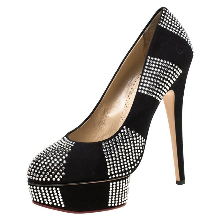 Charlotte Olympia Black Suede Paparazzi Crystal Embellished Pumps Size 38 For Sale