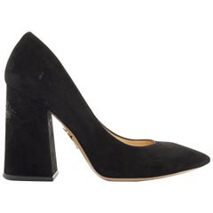 CHARLOTTE OLYMPIA black suede point toe spider embroidered chunky high heel EU35