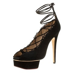 Charlotte Olympia Black Suede Scallop Lace Up Open Toe Platform Pumps Size 39