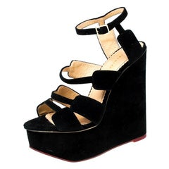 Charlotte Olympia Black Suede Wedge Platform Ankle Strap Sandals Size 39