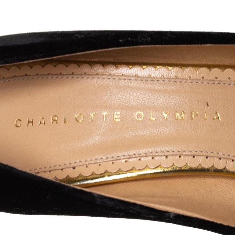Charlotte Olympia Black Velvet Dolly Pumps Size 38 For Sale 1