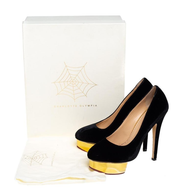 Charlotte Olympia Black Velvet Dolly Pumps Size 38 For Sale 2