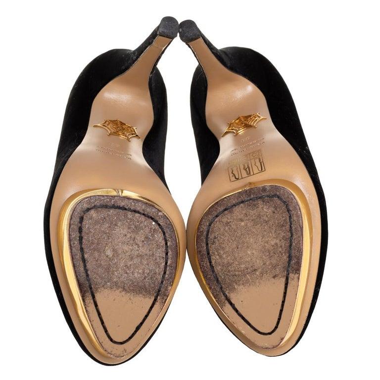 Charlotte Olympia Black Velvet Dolly Pumps Size 38 For Sale 3