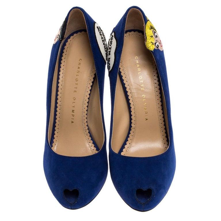 Black Charlotte Olympia Blue Suede Archie Comic Peep Toe Pumps Size 37 For Sale